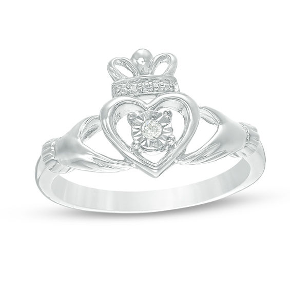 0.04 CT. Diamond Solitaire Claddagh Promise Ring in 10K White Gold