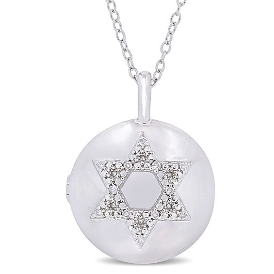 0.04 CT. T.w. Diamond Star of David Circle Locket in Sterling Silver