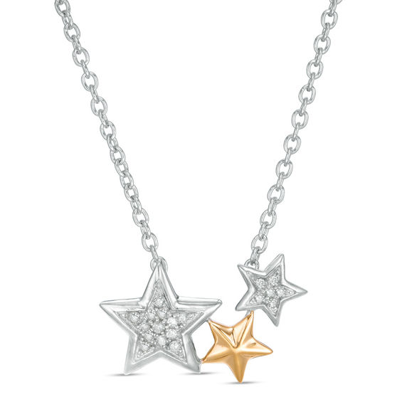 0.06 CT. T.w. Diamond Triple Star Necklace in Sterling Silver and 10K