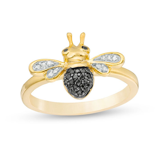 0.085 CT. T.w. Enhanced Black and White Diamond Bumble Bee Ring in