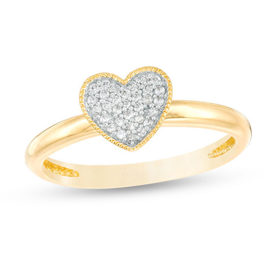 0.10 CT. T.w. Diamond Vintage-Style Heart Ring in 10K Gold