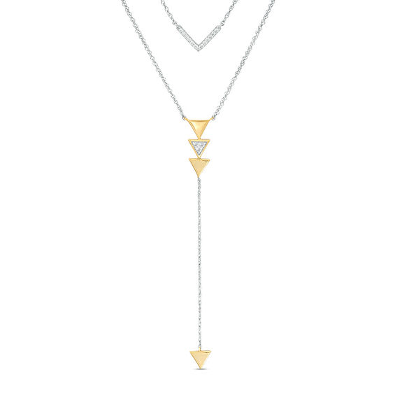 "0.115 CT. T.w. Diamond Chevron and Triangle Double Strand ""Y"" Necklace"