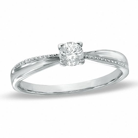 0.16 CT. Diamond Solitaire Tapered Promise Ring in 10K White Gold