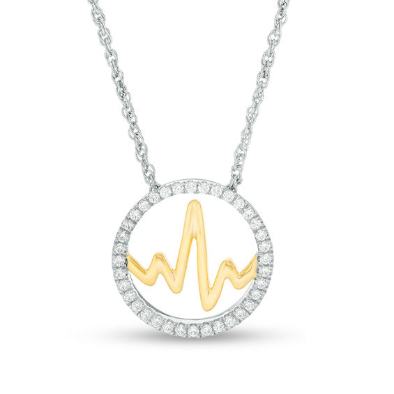 0.23 CT. T.w. Diamond Open Circle Heartbeat Necklace in Sterling