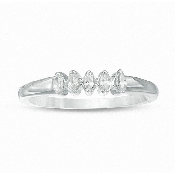 0.23 CT. T.w. Marquise Diamond Five Stone Wedding Band in 10K White