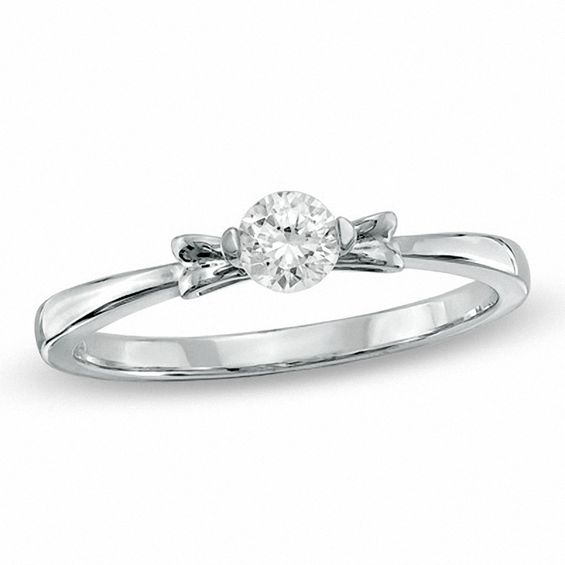 0.25 CT. Diamond Solitaire Promise Ring in 10K White Gold