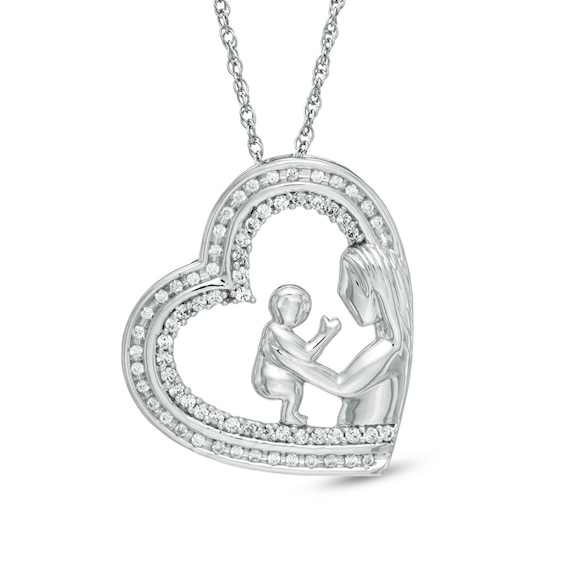 0.33 CT. T.w. Diamond Motherly Love Tilted Heart Pendant in Sterling