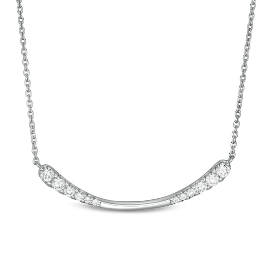 0.45 CT. T.w. Journey Diamond Curved Bar Necklace in 10K White Gold