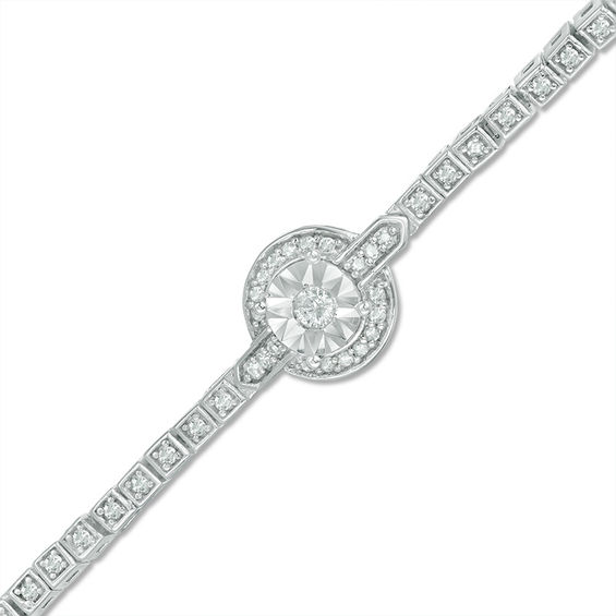 0.47 CT. T.w. Diamond Frame Art Deco Tennis Bracelet in Sterling