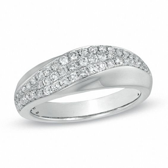 0.50 CT. T.w. Diamond Three Row Slant Band in 14K White Gold