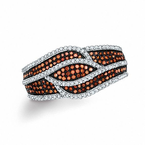 0.60 CT. T.w. Enhanced Cognac and White Diamond Layered Waves Ring in