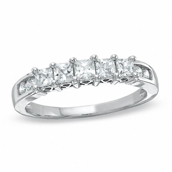 0.75 CT. T.w. Princess-Cut Diamond Nine Stone Band in 10K White Gold
