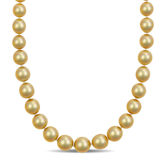 10.0 - 12.5mm Golden Cream Cultured South Sea Pearl Strand Necklace