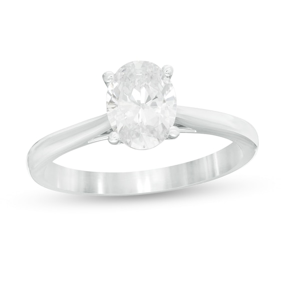1.00 CT. Certified Oval Diamond Solitaire Engagement Ring in 14K White