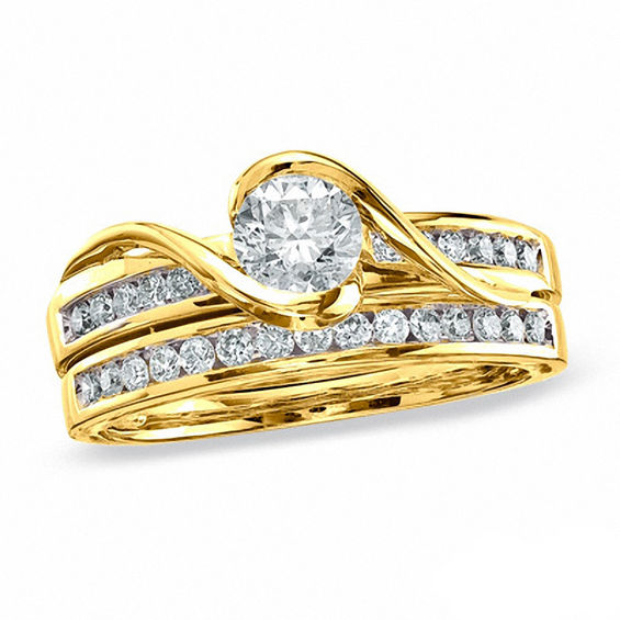 1.00 CT. T.w. Certified Canadian Diamond Bridal Set in 14K Gold (I/i1)
