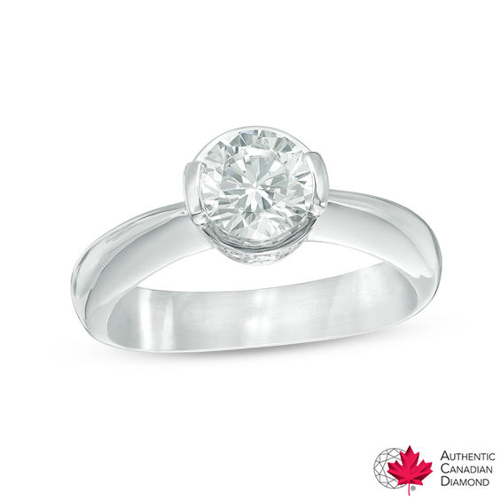 1.06 CT. T.w. Certified Diamond Solitaire with Side Accents Engagement