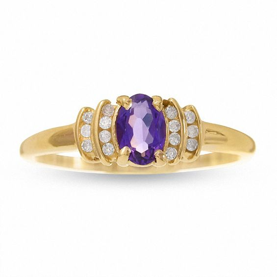10K Gold Amethyst Crown Ring with Diamond Accents