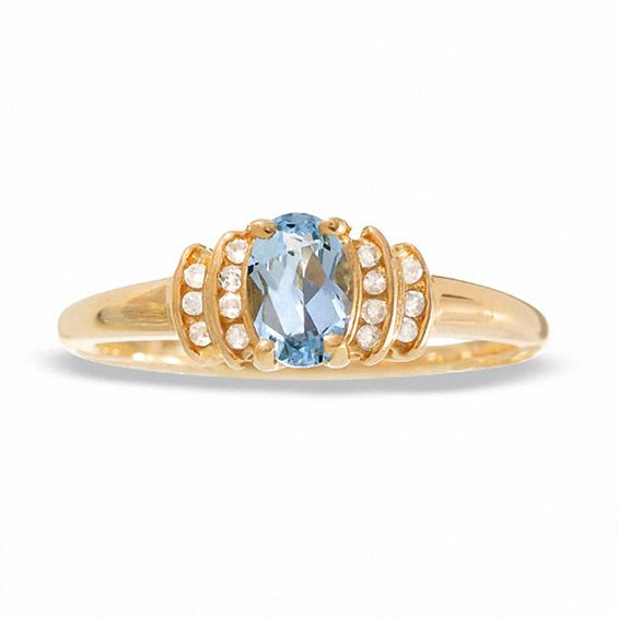 10K Gold Aquamarine Crown Ring with Diamond Accents
