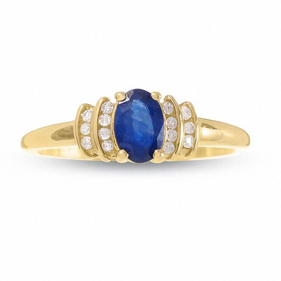 10K Gold Blue Sapphire Crown Ring with Diamond Accents
