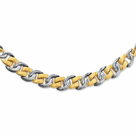 10K Two-Tone Gold Horseshoe Link Necklace