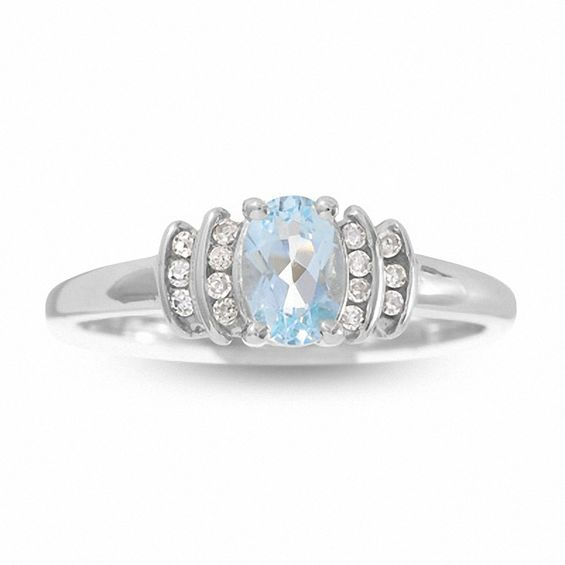 10K White Gold Aquamarine Crown Ring with Diamond Accents