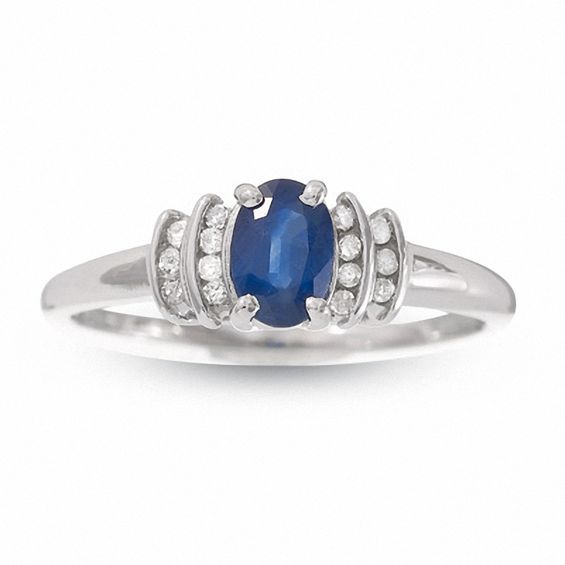10K White Gold Blue Sapphire Crown Ring with Diamond Accents