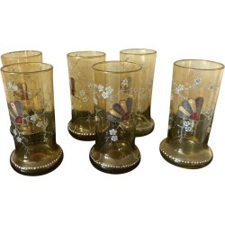 20th Century Enameled And Tinted Set Of 6 Glasses, 1920s