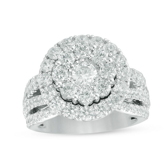 3.00 CT. T.w. Composite Diamond Frame Multi-Row Engagement Ring in 14K