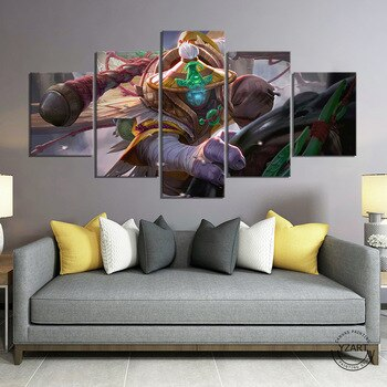 5 Piece LoL Wild Rift Jax Angler Skin League of Legends Game Poster Paintings Wall Picture for Bedroom Decor-NO Frame