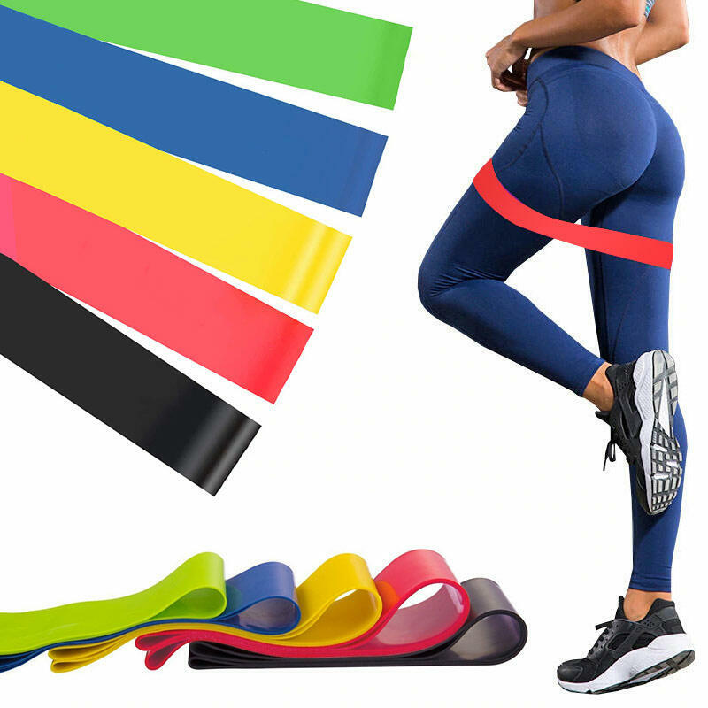 5 Pieces/Set Fitness Resistance Stretch Band Sport Yoga Resistance Loop Exercise Bands Workout Band in Multicolor. Size: One Size