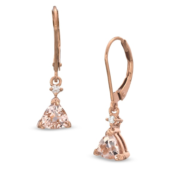 5.0mm Trillion-Cut Morganite and Diamond Accent Drop Earrings in 10K