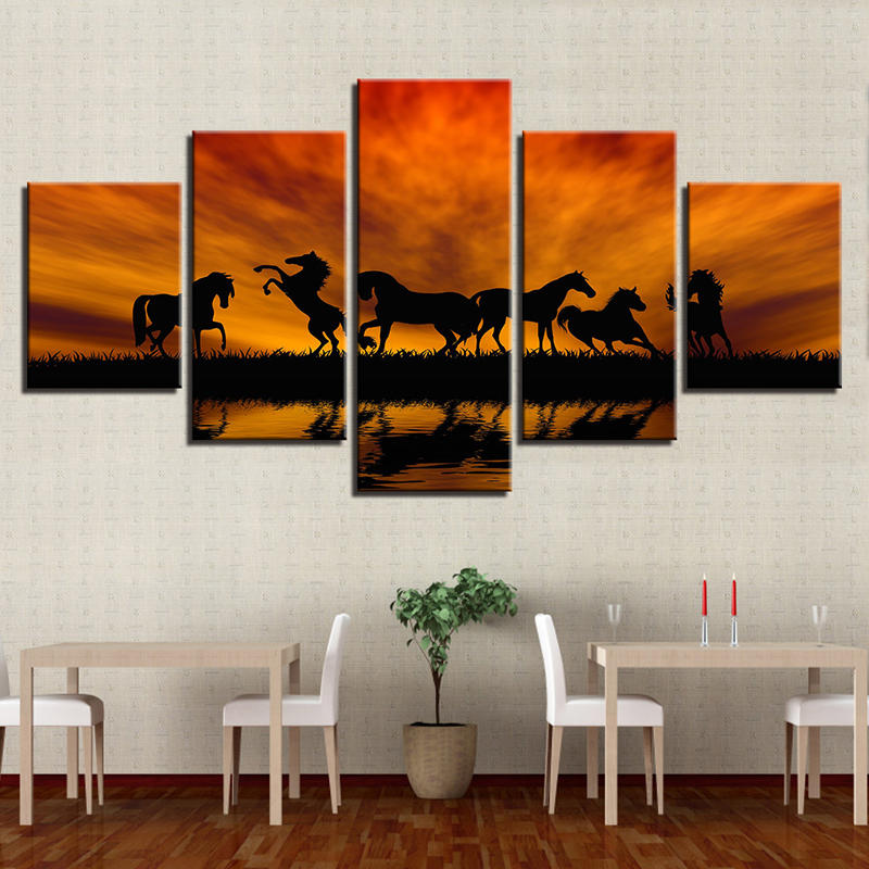5PCS Large Huge Modern Wall Art Oil Painting Picture Print Unframed Home Decor Wall Sticker