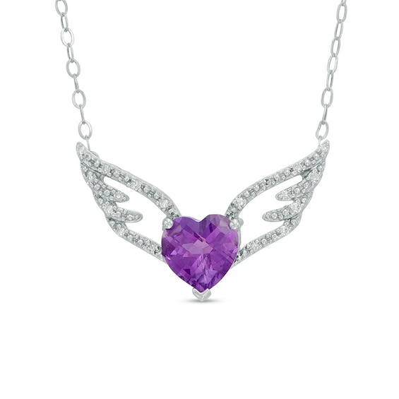 7.0mm Heart-Shaped Amethyst and Diamond Accent Wings Necklace in