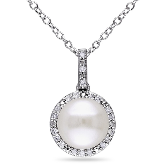 8.0 - 8.5mm Button Cultured Freshwater Pearl and 0.10 CT. T.w. Diamond