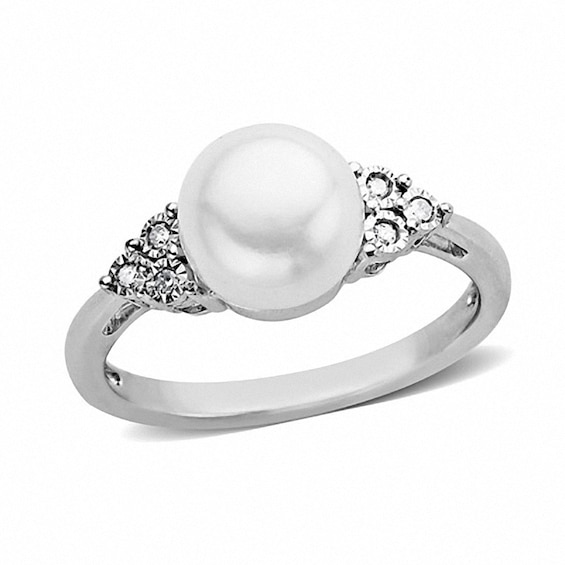 8.0 - 8.5mm Button Cultured Freshwater Pearl and Diamond Accent Ring