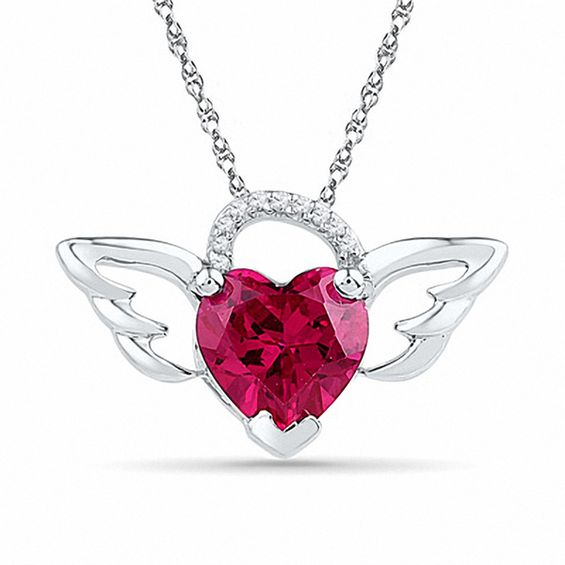 8.0mm Heart-Shaped Lab-Created Ruby and Diamond Accent Wings Pendant
