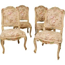 A Rare Set Of Four Louis Xv Side Chairs, Stamped Tillard
