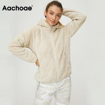 Aachoae Faux Fur Coat Hooded Pockets Jackets Women Autumn Winter 2020 Casual Solid Long Sleeve Teddy Coat Fleece Zip Up Outwear