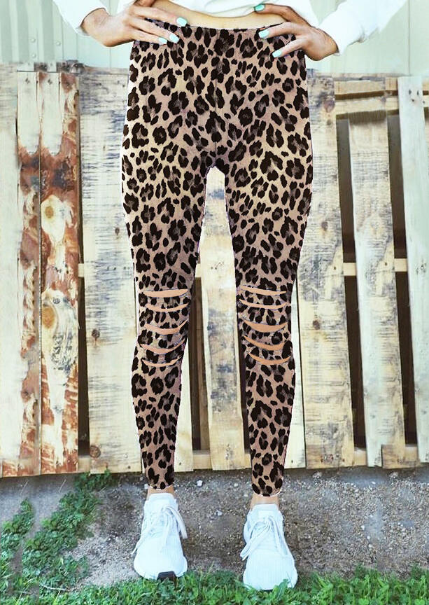 Activewear Leopard Hollow Out Fitness Activewear Leggings in Leopard. Size: S,M,L