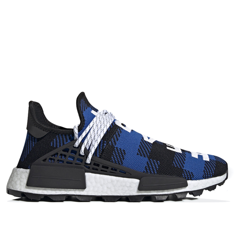 Adidas PW Human Race NMD BBC Blue Plaid Marathon Running Shoes/Sneakers EF7387 (Size: US 6.5)