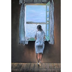 (after) Salvador Dali, Woman at the window tribute to Dal� oil on canvas painting, 2006