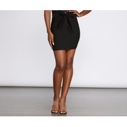 All You Need Tie Front Mini Skirt