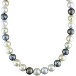 Allura 10-12.5 MM Multi-Colored South Sea and Tahitian Pearl Necklace in 14k Yellow Gold