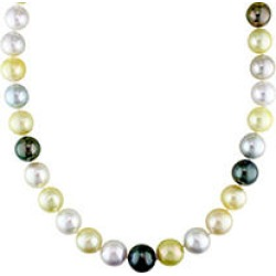 Allura 9-12 MM Multi-Colored South Sea and Tahitian Pearl Necklace in 14k Yellow Gold