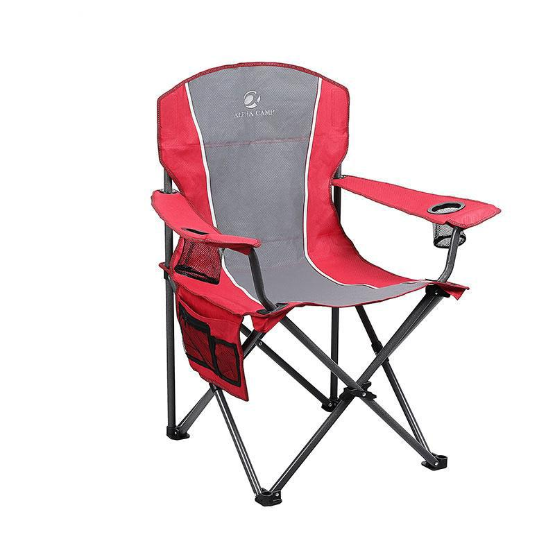 Alpha Camp Oversized Folding Arm Camping Chair Red Grey