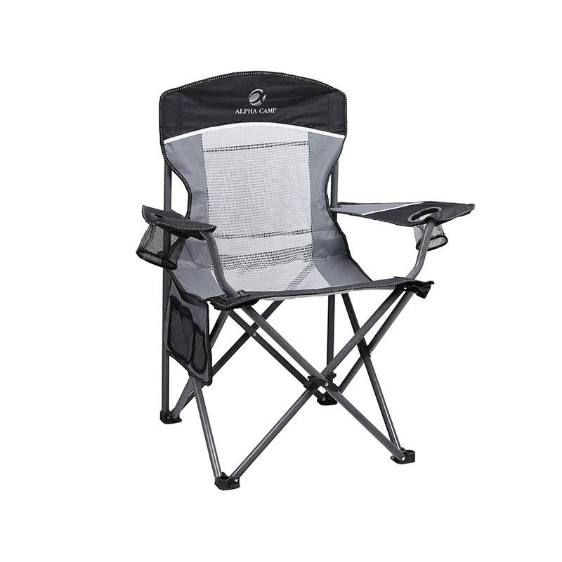 Alpha Camp Oversized Mesh Camping Chair Support 350lbs Black Grey
