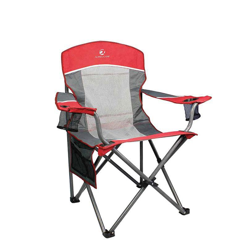 Alpha Camp Oversized Mesh Camping Chair Support 350lbs Red Grey