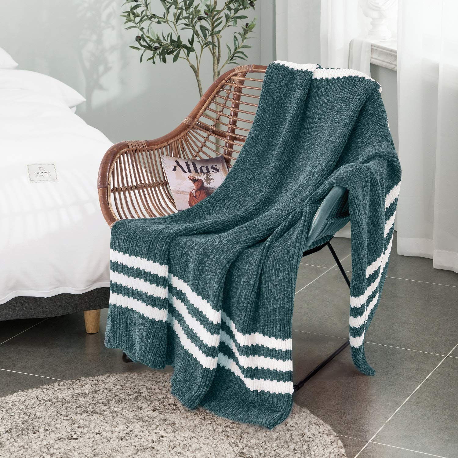 "ALPHA HOME Chenille Throw Blanket - Ultra Soft - 50"" x 60"", Teal - for Sofa, Couch, Bed Teal"