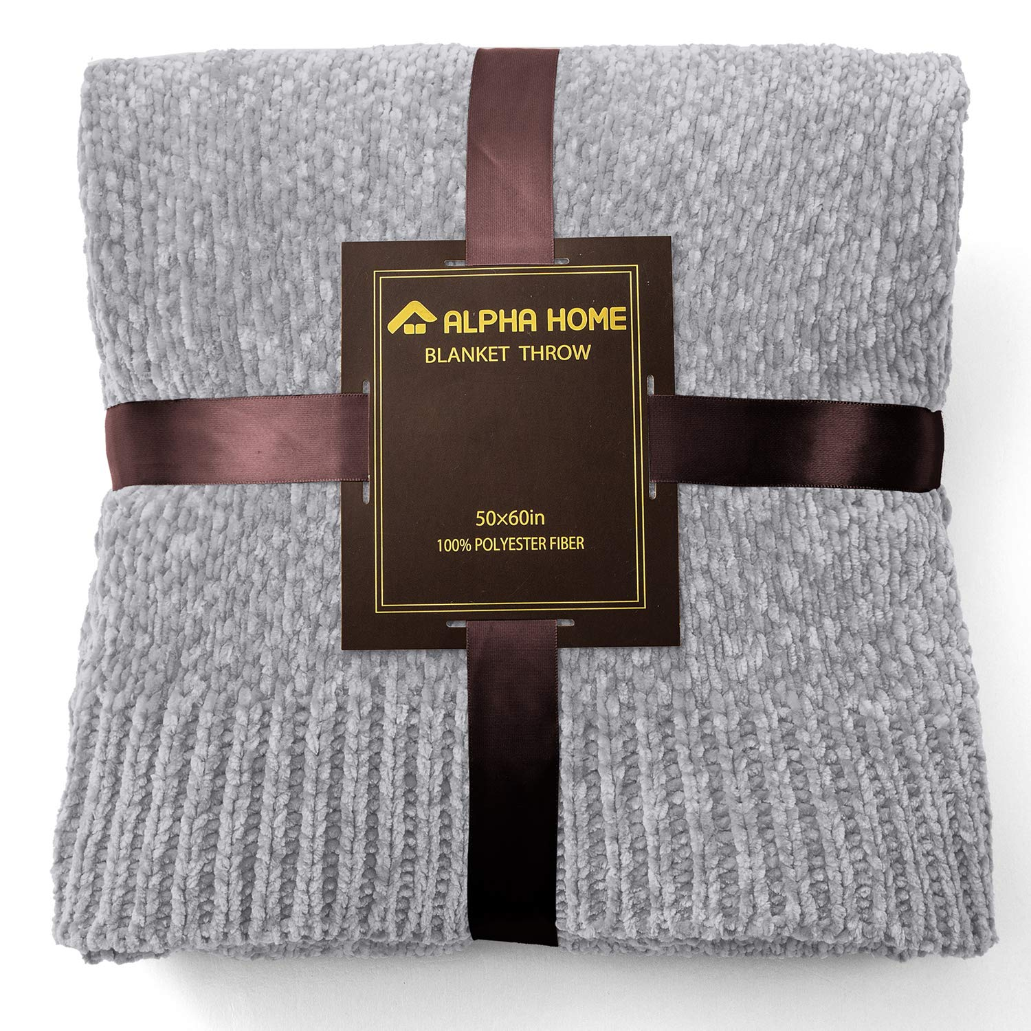 """ALPHA HOME Extra Soft Chenille Throw Blanket Decorative Throw for Bed, Couch, Sofa, 60"""" x 50"""" Pink Grey"""