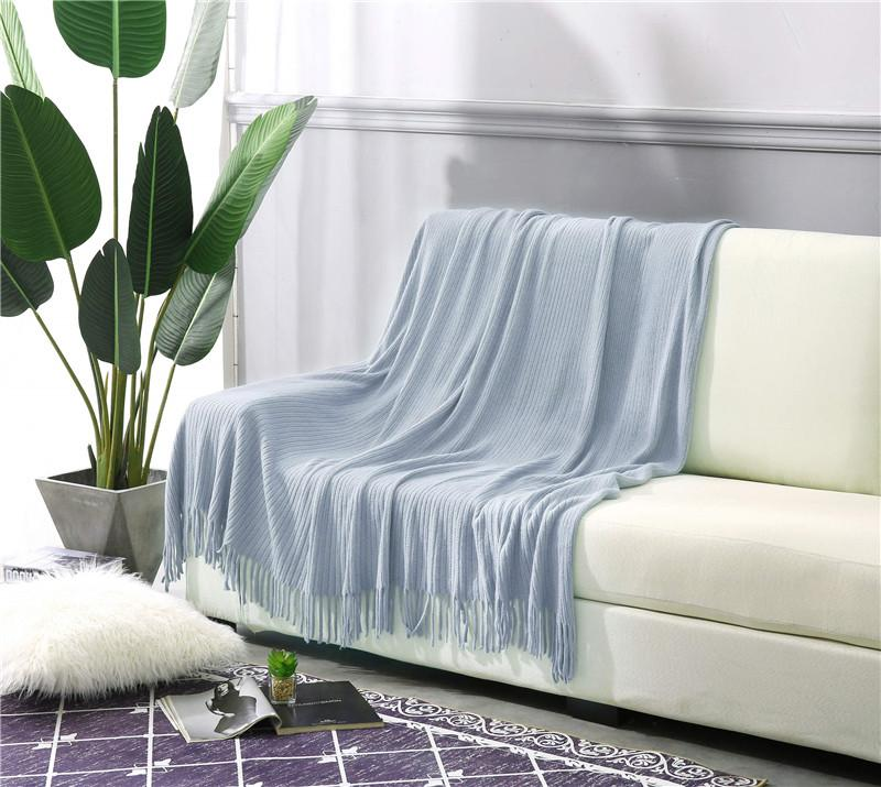 """ALPHA HOME Throw Blanket 50"""" x 60"""" for Couch, Sofa, Chair, Bed, Decorative Blanket blue"""